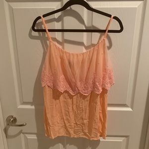 Torrid Peach Tank with Lace Overlay